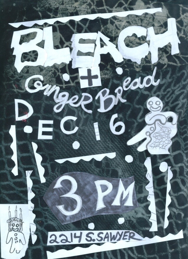 flyer for ginger bread and bleach party